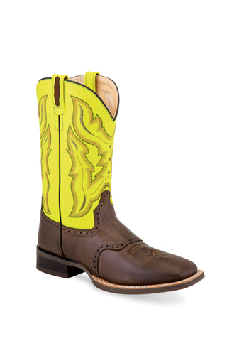 Old West Yellow/Brown Mens Leather Saddle Cowboy Boots