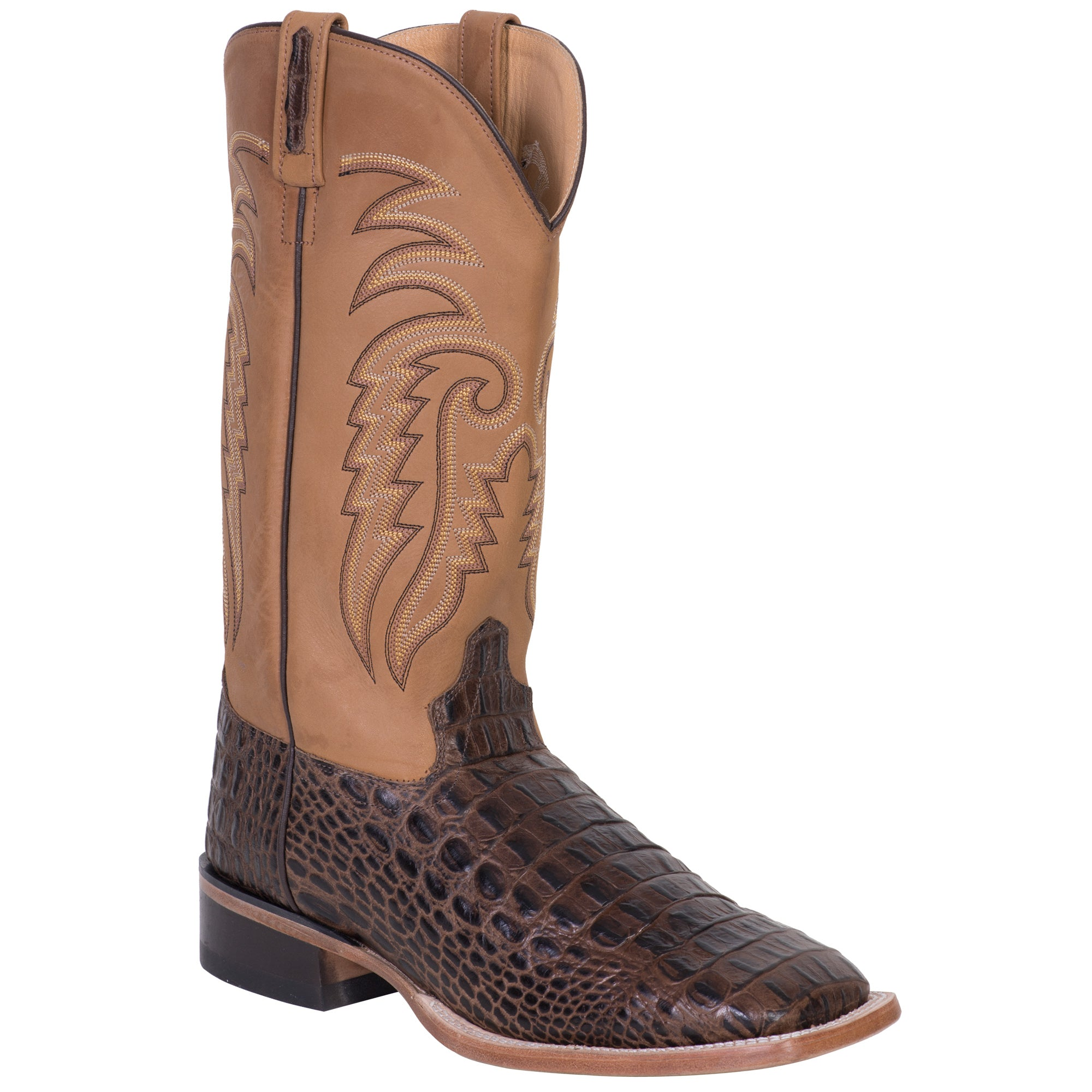 5db12b2a0ea Old West Brown/Tan Mens Leather Caiman Cowboy Boots – The Western ...