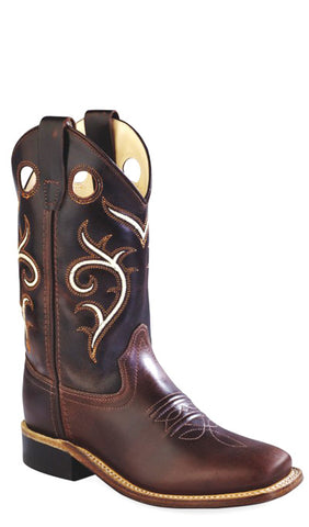 Old West Brown Youth Boys Carona Leather Broad Square Toe Cowboy Boots