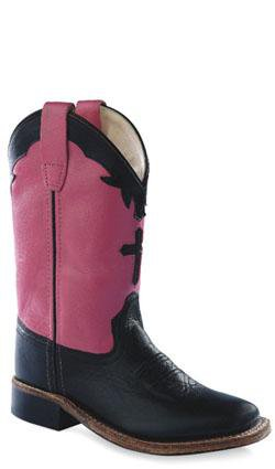 Old West Hot Pink Youth Girls Carona Leather Square Toe Cowboy Boots 6.5 D