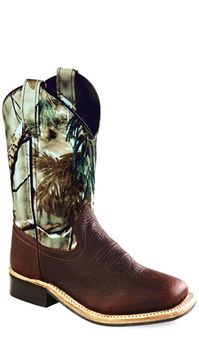 Old West Camo Youth Boys Carona Leather Broad Square Toe Cowboy Boots