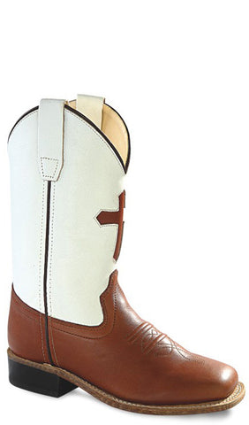 Old West White Youth Boys Carona Leather Pecan Cross Sq Toe Cowboy Boots