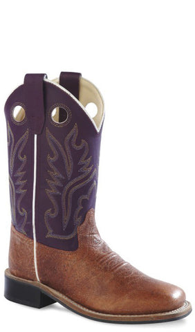Old West Purple Youth Girls Carona Leather Broad Square Toe Cowboy Boots