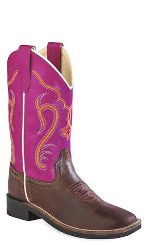 Old West Dark Pink Youth Girls Leather Broad Square Toe Cowboy Boots