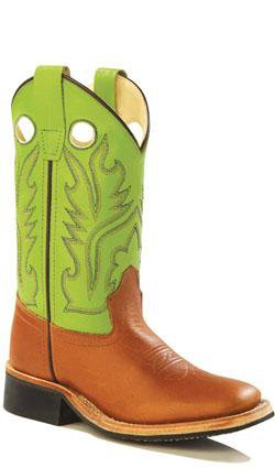 Old West Green Youth Girls Corona Leather Broad Square Toe Cowboy Boots