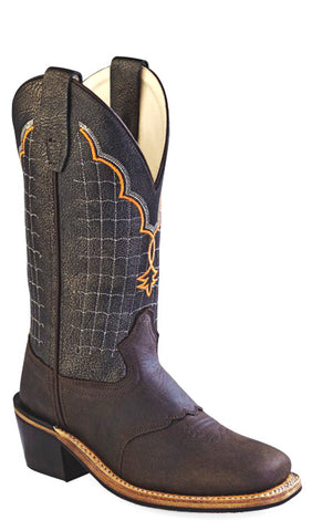 Old West Black Youth Boys Corona Leather Broad Square Toe Cowboy Boots