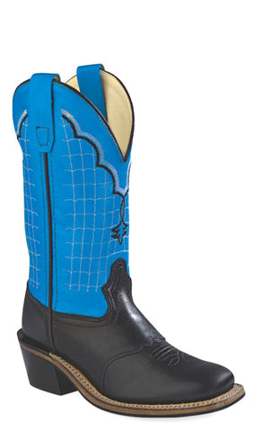 Old West Blue Youth Boys Corona Leather Broad Square Toe Cowboy Boots