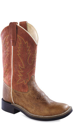 Old West Red Youth Boys Leather Broad Square Toe Cowboy Boots