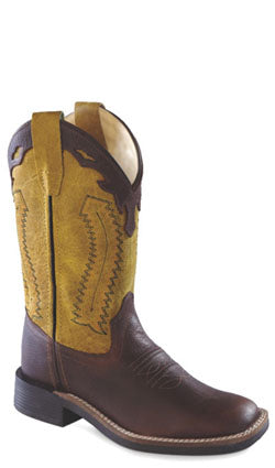 Old West Yellow Youth Boys Oiled Leather Broad Square Toe Cowboy Boots