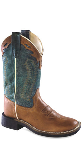 Old West Denim Blue Youth Boys Leather Broad Square Toe Cowboy Boots
