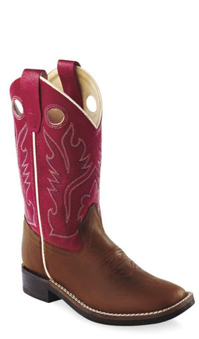 Old West Red Youth Boys Distress Leather Broad Square Toe Cowboy Boots