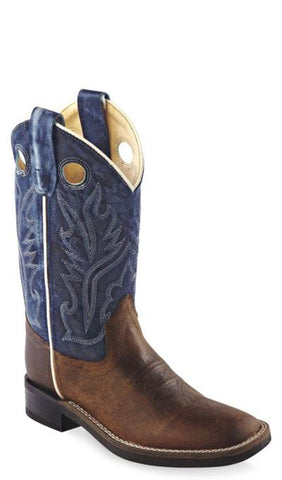 Old West Blue Youth Boys Oily Leather Broad Square Toe Cowboy Boots