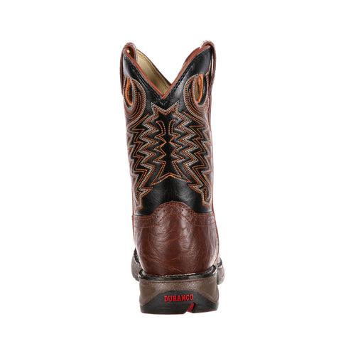Lil Durango Kids Brown/Black Faux Leather Saddle Western Cowboy Boots