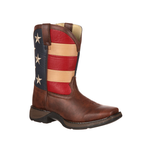 Lil' Durango Kids Boys Brown Faux Leather Union Flag Pull-On Cowboy Boots