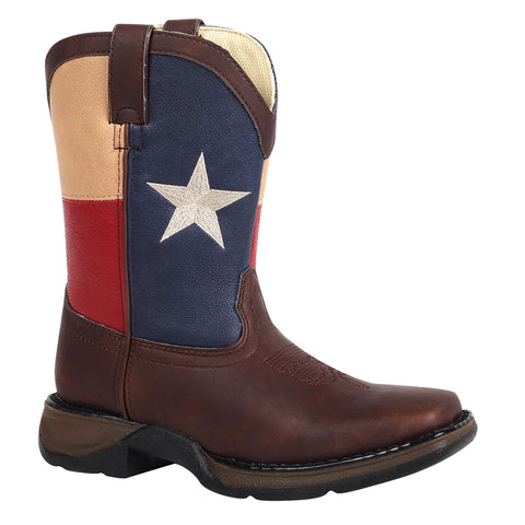 Lil' Durango Kids Boys Brown Faux Leather Texas Flag Pull-On Cowboy Boots