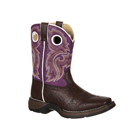 Lil' Flirt by Durango Girls Purple Faux Leather Lacey Western Cowboy Boots