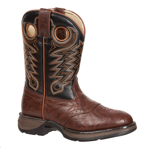 Lil' Durango Kids Boys Brown Faux Leather Saddle Buckaroo Cowboy Boots