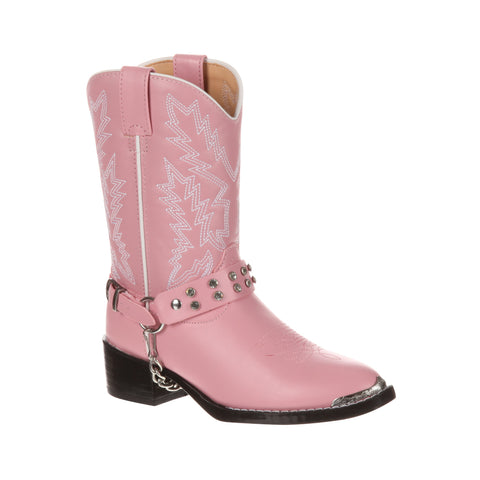 Durango Kids Girls Pink Faux Leather Chrome Harness Biker Cowboy Boots
