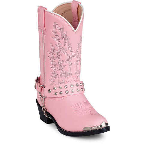 Durango Kids Girls Pink Faux Leather Harness Biker Chrome Cowboy Boots