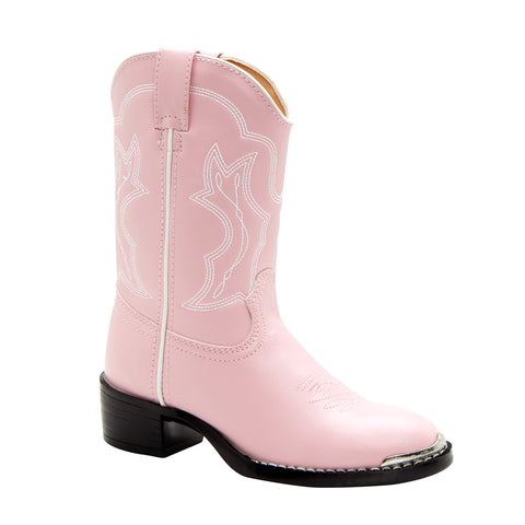 Durango Kids Girls Pink Faux Leather Chrome Western Cowboy Boots