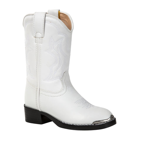 Durango Kids Girls White Faux Leather Pull-On Western Rode Cowboy Boots