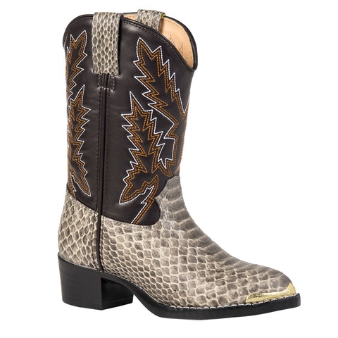 Durango Kids Boys Tan Faux Leather 10in Snake Print Cowboy Boots