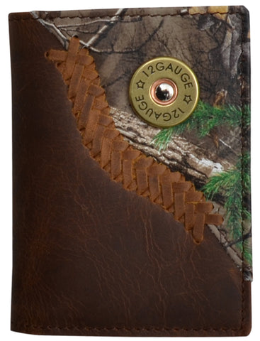 Badger Brown Leather Trifold Wallet Realtree AP Camo