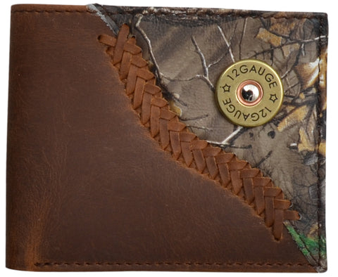 Badger Brown Leather Bifold Wallet Realtree AP Camo