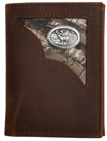 Badger Brown Leather Trifold Wallet Distressed Shell