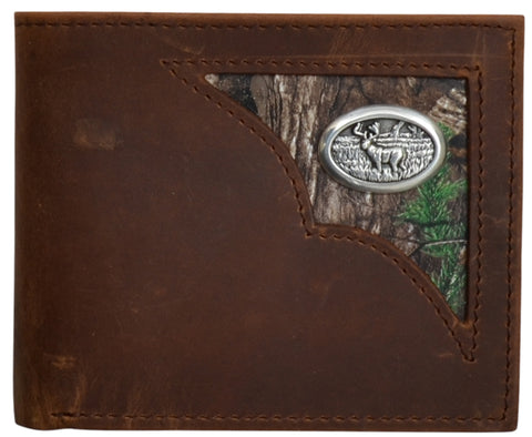 Badger Brown Leather Bifold Wallet Distressed Shell