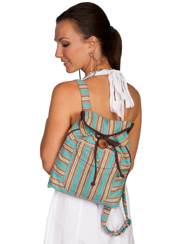 Scully Cantina Collection Stripe Backpack Turquoise 100% Cotton 13x12x3