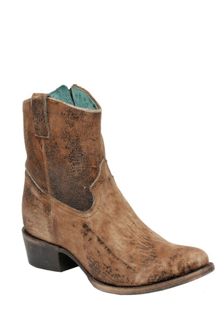 Corral Boots Womens Leather Abstract Lamb Chocolate Shortie Cowgirl