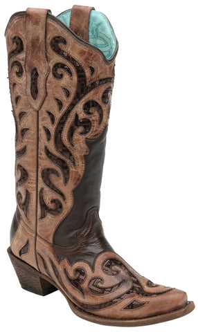 Corral Boots Womens Leather Chocolate Inlay Brown Sequins Cowgirl