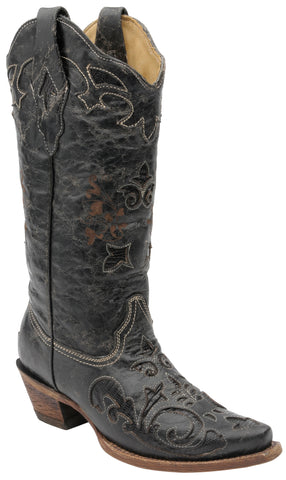 Corral Boots Womens Leather Lizard Inlay Black Vintage Cowgirl