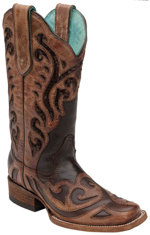 Corral Boots Womens Leather Chocolate Sequence Brown Sq Toe Cowgirl