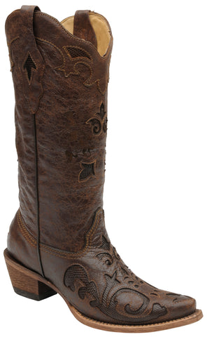 Corral Boots Womens Leather Lizard Inlay Chocolate Vintage Cowgirl