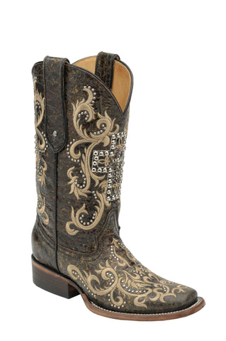 Corral Boots Womens Leather Studded Cross Black Distressed Cowgirl