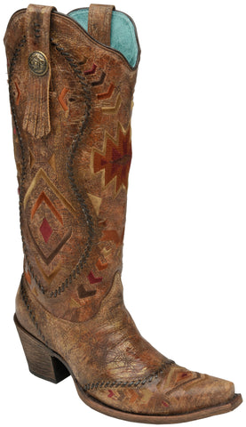 Corral Boots Womens Leather Aztec Embroidered Cognac 15in Cowgirl