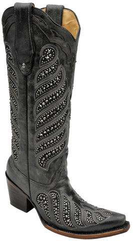 Corral Boots Womens Leather Crystal Inlay Black Cowgirl