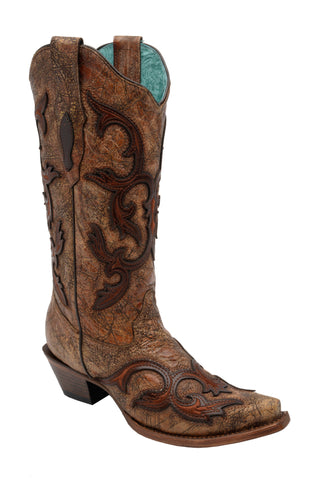 Corral Boots Womens Leather Patch Overlay Brown Swirl Cowgirl