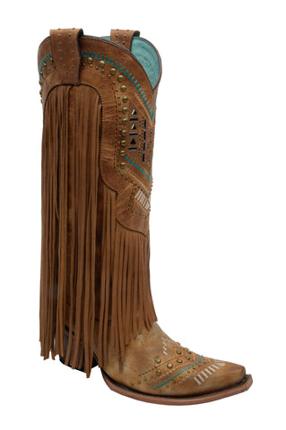 Corral Boots Womens Leather Crystal Fringe Tan Cowgirl