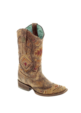 Corral Ladies Cognac Cowhide Leather Cowgirl Boots