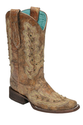 Corral Boots Womens Leather Metallic Stitching Cognac Cowgirl