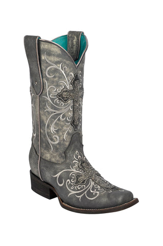 Corral Boots Womens Leather Crystal Cross Gray Cowgirl