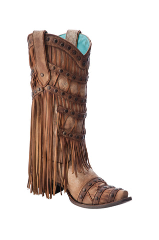 Corral Ladies Fringe Camel Cowhide Leather Cowgirl Boots