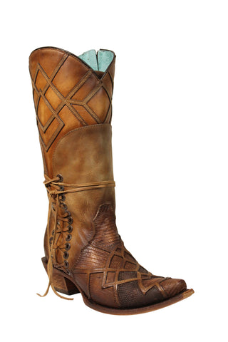 Corral Ladies Honey Lizard Teju Leather Cowgirl Boots