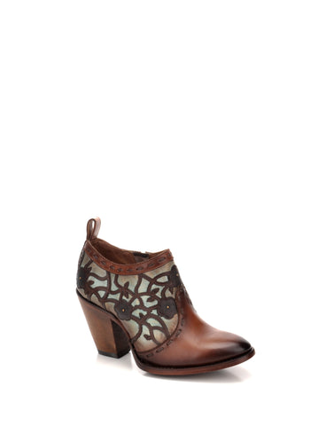 Corral Urban Ladies Embroidery Gold Cowhide Leather Cowgirl Shoe Boots