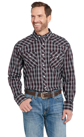 Cowboy Up Mens Black/White/Red 100% Cotton Button-Down Western Shirt L/S