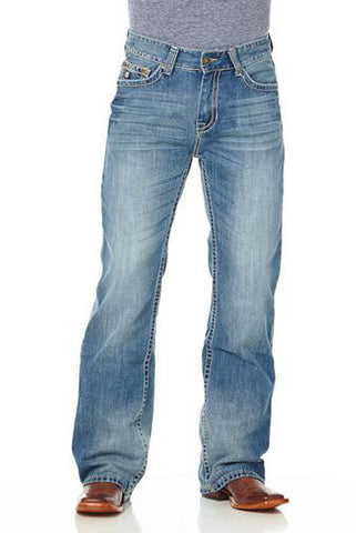 Cowboy Up Mens Blue 100% Cotton Denim Jeans Faded