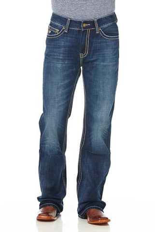 Cowboy Up Mens Blue 100% Cotton Denim Jeans Embroidered